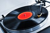 Vinyl record spinning on turntable close up poster