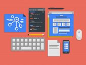 Flat design vector illustration icons set of modern office workflow for web programming and mobile development process in stylish colors. Isolated on red background poster