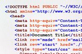 Web page HTML source code with document title metadata description and links monitor screenshot front view poster