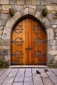 Beautiful old wooden door with iron ornaments in a medieval castle poster