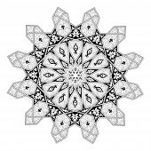 Black and white Arabic middle eastern floral pattern motif based on Arabian ornament poster