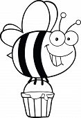 Black and White Smiling Cute Bee Flying With A Honey Bucket poster