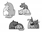 Pets friendship - dog and cat in cartoon mascot style poster