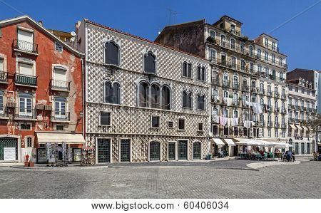 Lisbon, Portugal - July 14, 2013: Casa dos Bicos (House of Spikes), where the Jose Saramago Foundation (Literature Nobel Prize) is hosted. Lisbon, Portugal - Gothic architecture with Manueline windows