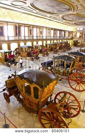 Lisbon, Portugal - June 18, 2013: Museu dos Coches (Coach Museum) the most visited museum in Portugal with one of the best collections in the world.