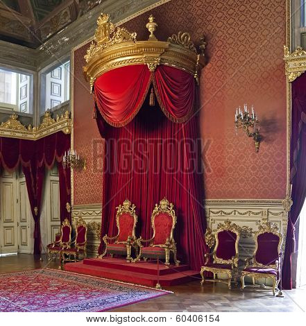 Lisbon, Portugal, June 10, 2013: The Throne Room of the Ajuda National Palace, Lisbon, Portugal - 19th century neoclassical Royal palace.