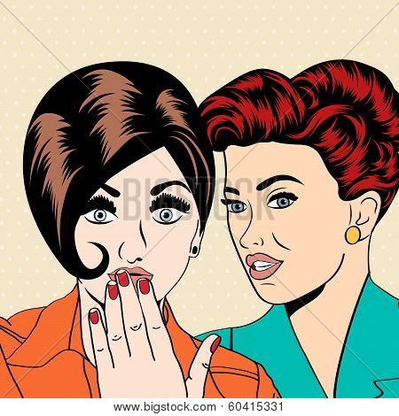 Two Young Girlfriends Talking, Comic Art Illustration