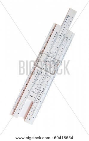 Antique slide rule isolated on white