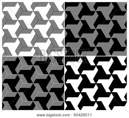 Set of Four B&W Seamless Patterns. Triangle Elements. Rasterized Version