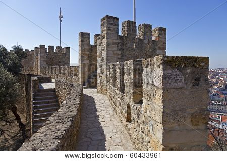 Defensive walls and towers in Sao Jorge (St. George) Castle Keep in Lisbon, Portugal. One of the landmarks of the Portuguese Capital.