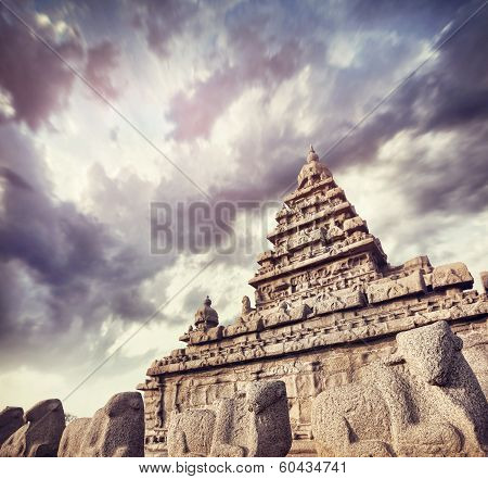 Shore Temple With Bull Statues