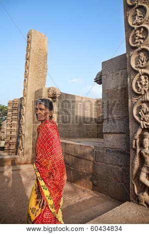 Indian Woman In Mamallapuram Temple