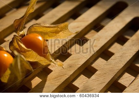 Gooseberries On A Wooded Plate
