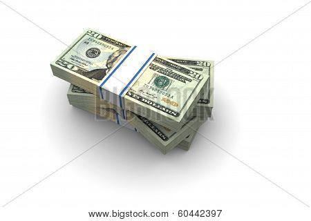 Twenty Dollar Bills Stack