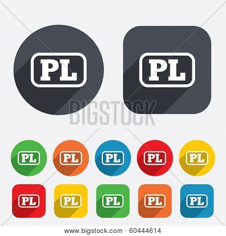 Polish language sign icon. PL translation