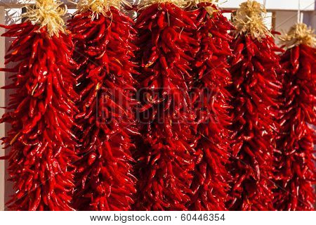 Red, ristra hanging chili peppers as a background