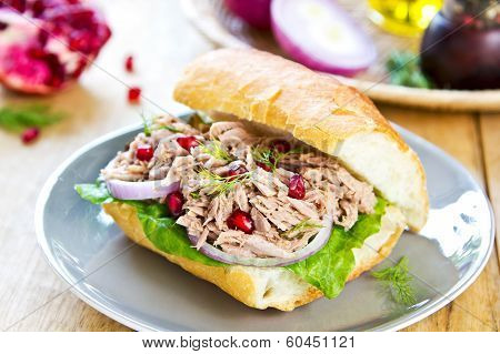 Tuna with Dill and Pomegranate on Baguette sandwich poster