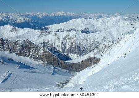 Ski Slopes And Ski Lift On Hintertux Glacier