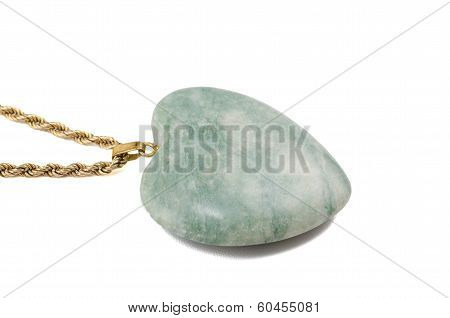 Amazonite Polished Heart Isolated On White