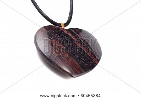 Tiger Iron Eye Burnished Stone Heart