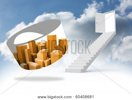 Orange cityscape on abstract screen against steps leading to open door in the sky poster