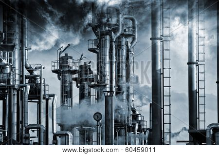 giant oil and gas refinery, smoke, fog and smog, special processing concept