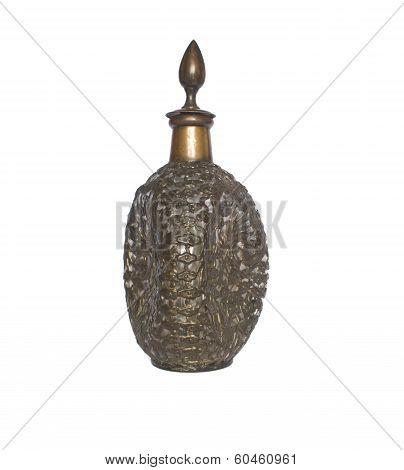 Rare Eastern Arabic Brass Glass Wine Carafe Decanter