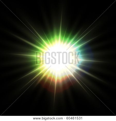 Abstract multicolor(diffraction) sunbeam on black background. Vector illustration of sun