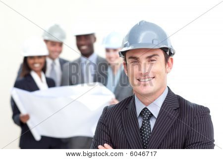 Architect With His Team In The Background