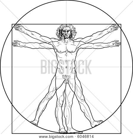 The Vitruvian man. Detailed drawing on the basis of artwork by Leonardo da Vinci (executed circa in 1490) by ancient manuscript of Roman master Marcus Vitruvius Pollio. poster