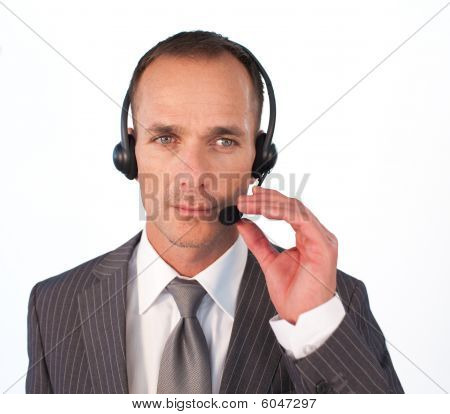 Serious Businessman With A Headset On