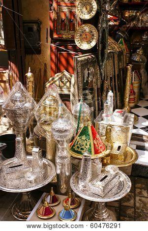 Souvenir shop in the medina of Fes Morocco poster