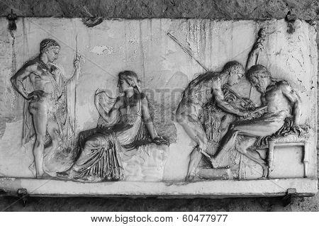 Herculanum  Fresco Of Love Scenes.