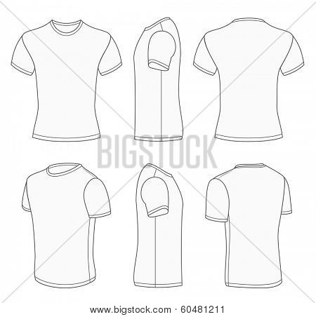 All views men's white short sleeve t-shirt design templates (front, back, half-turned and side views). Vector illustration. One white color and gray outline. Redact very easy!