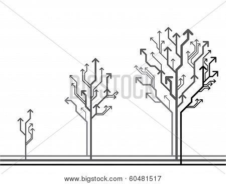 Vector Growing Arrow Tree