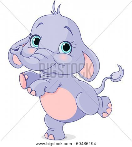 Happy baby elephant dancing