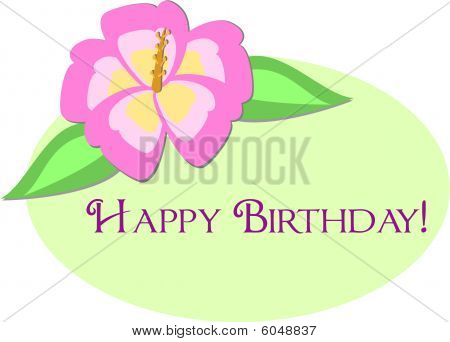 Happy Birthday Greeting with Hibiscus Flower