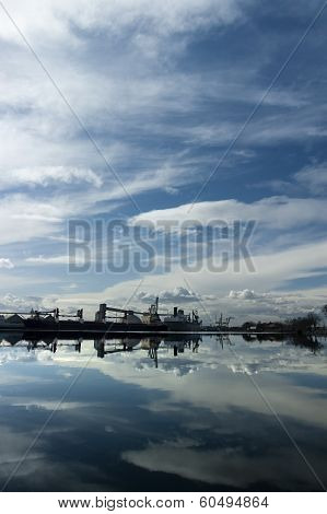 Port Of Stockton Under Dramatic Sky