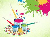 Indian festival Happy Holi celebrations concept with colours buckets on colours splash background. poster