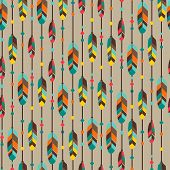 Ethnic seamless pattern in native style with feathers. poster