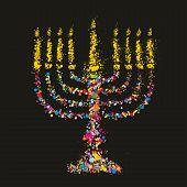 Grunge stylized colorful Chanukiah (menorah) on black background - holiday vector illustration poster
