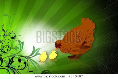 Illustration of a hen and chicks with background poster