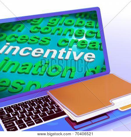 Incentive Word Cloud Laptop Shows Bonus Inducement Reward