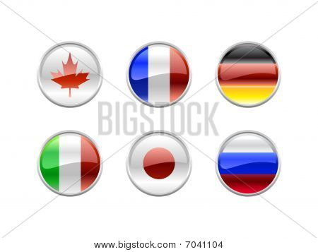 Illustration of round buttons set decorated with the flags of the world (G8). poster