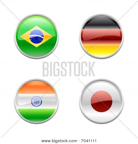 Illustration of round buttons set decorated with the flags of the world (G4). poster