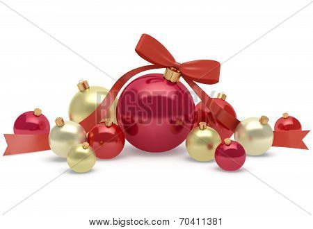 Christmas And New Year Decoration Of Bright And Shiny Balls