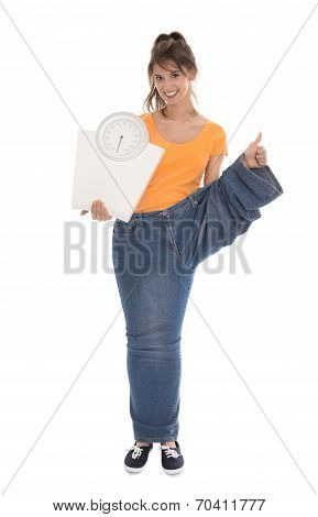Beautiful Young Healthy Woman. Isolated Over White Making Diet.