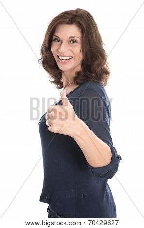 Happy Isolated Mature Woman In The Fifties Isolated Over White.
