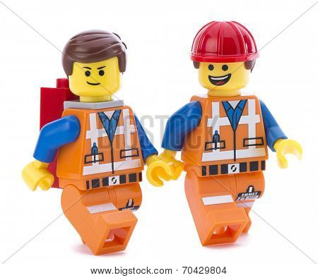 Ankara, Turkey - March 15, 2014:Two Lego movie minifigure characters Emmet isolated on white background.