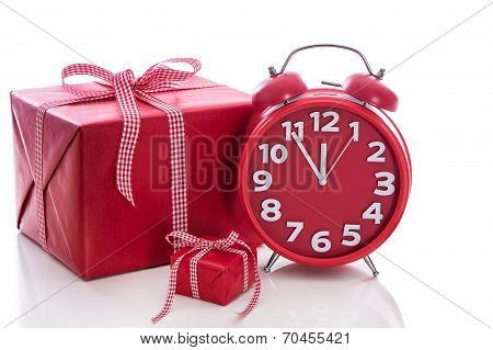 Christmas: Big Red Gift Box With Red Alarm Clock - Last Minute Christmas Shopping